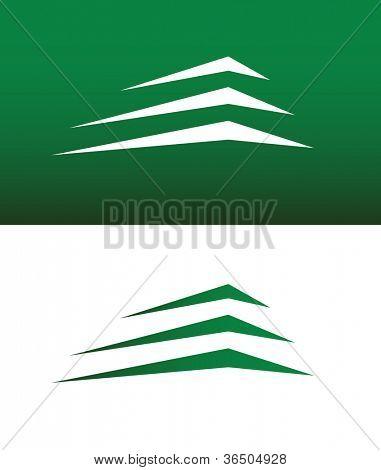 Resumo prédio ou montanha ícone Vector sólido e invertida.