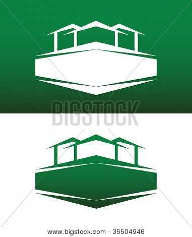 Abstract House Icon with Banner Vector on Both Solid and Reversed Background.