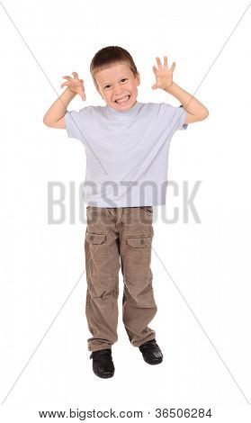 boy imitates growling cat. studio shoot