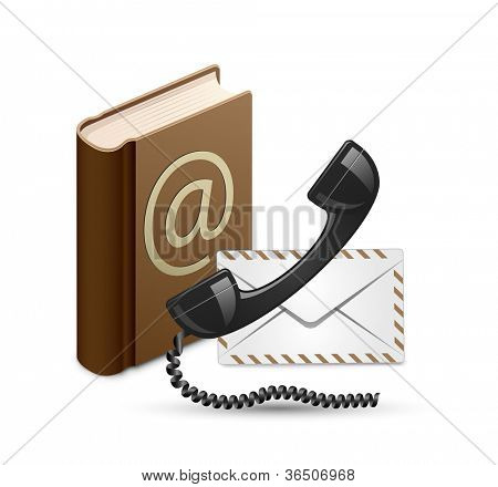 Contact Us. Contact book, phone and mail. Vector illustration