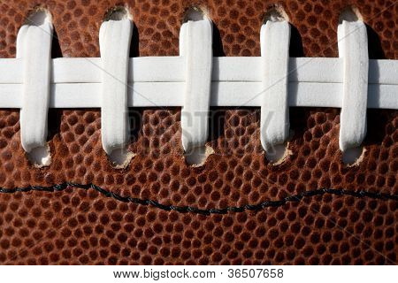American Football Laces Up Close and Detail