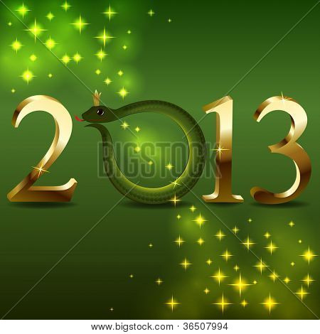 New 2013 year'??s card with cartoon snake instead 0.