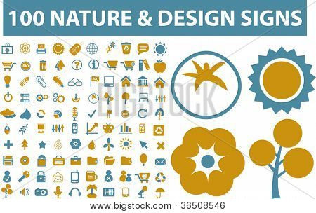 100 nature & design icons, signs set, vector