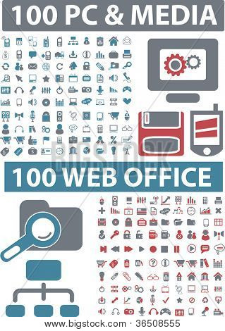 200 pc & Medien, Web-Office-Icons-Set, Vektor