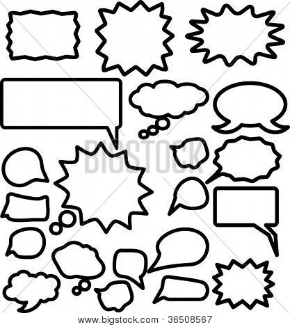 comic speech bubble icons set, vector