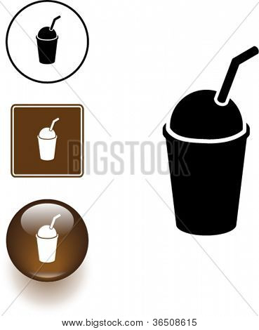 ice cold coffee beverage with drinking straw symbol sign and button