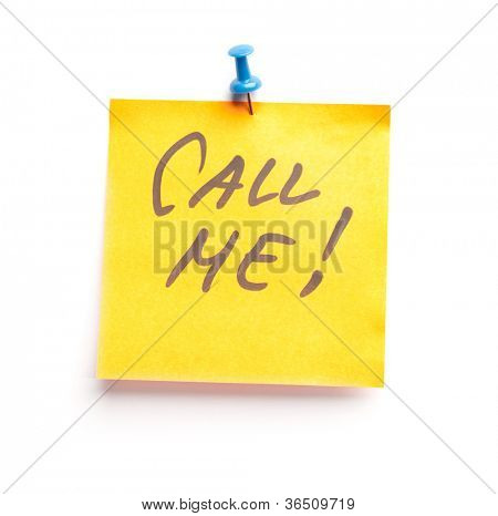 Sticky note with text Call me on it, isolated on white background