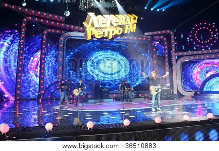 MOSCOW - DEC 17: Chris Norman sing on concert of Legend RetroFM in Sports complex Olimpiyskiy, Dec 17, 2011 in Moscow, Russia. In 1989 C.Norman released his second solo album under name Break The Ice.