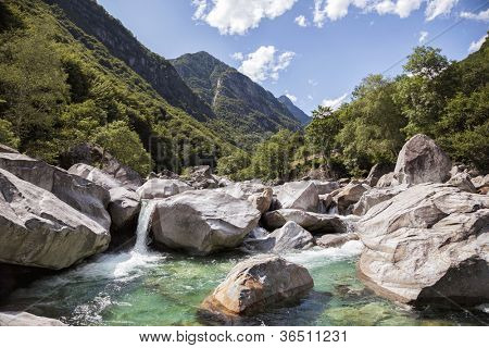 Rocky mountain valley on summer in Switzerland, Verzasca Valley.