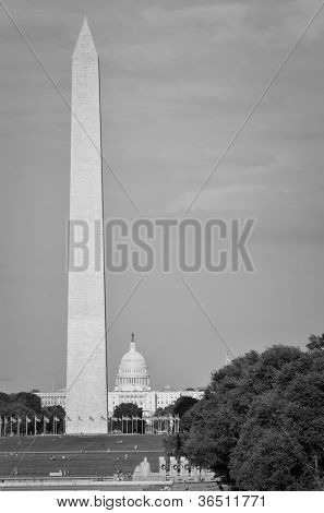 Washington DC - A view from National Mall including The Monument, US Capitol Building and World War II Memorial in black and white