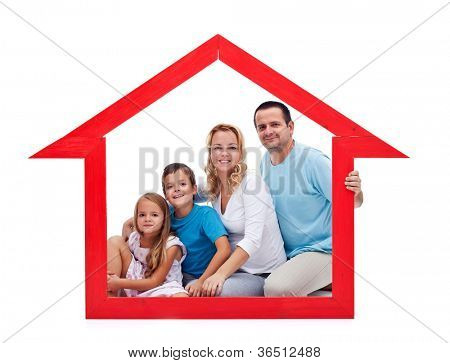 Family and home concept with young adults and two kids in house shaped frame - isolated