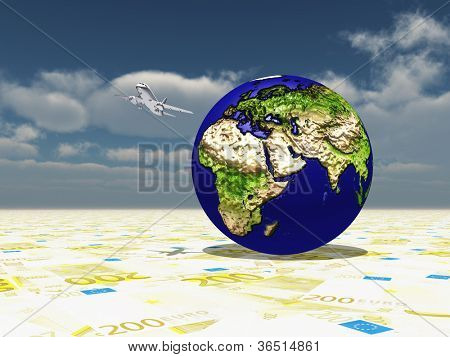 Earth focus Europe, Africa, Mdeast Asia on Euro Surface and Aircraft Circling Planet