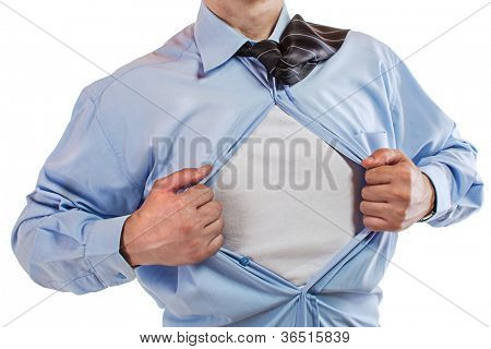 Young business man tearing apart his shirt revealing a superhero suit