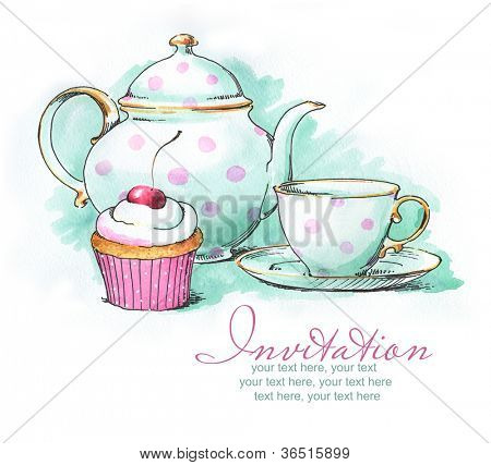 Painted watercolor teapot cup and cupcake