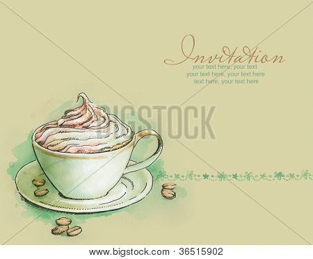 card with painted watercolor cup of cappuccino with whipped cream