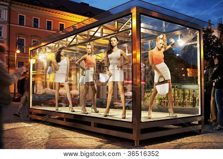 Many shopping women on exhibition window
