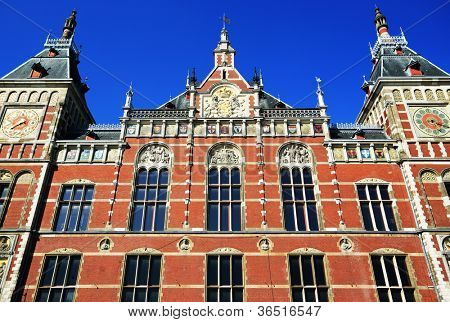 Central Railwaystation in Amsterdam Holland, Europe