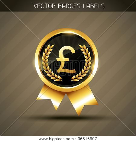 vector pound sign on golden label