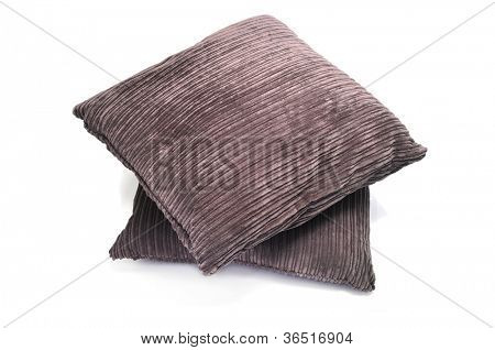 a pair of brown corduroy cushions on a white background