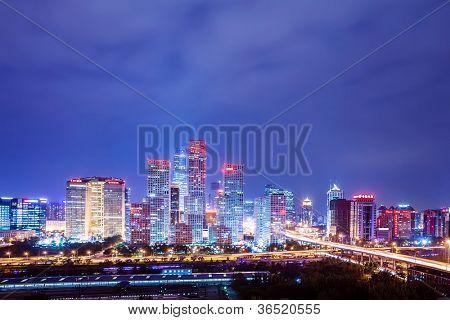 Pequim após o pôr do sol-noite cena do CBD