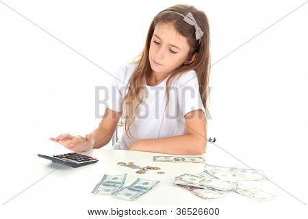 beautiful little girl with money, isolated on white
