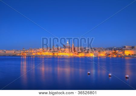 View of Valletta with Our Lady of Mount Carmel church dome, Malta