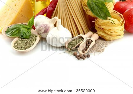 Pasta spaghetti, vegetables and spices and oil, isolated on white