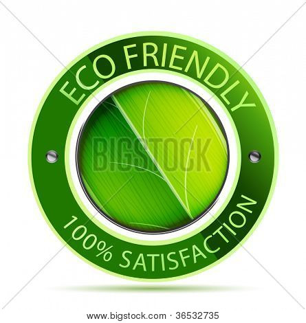 Green eco friendly icon with leaf. Raster version of my vector illustration