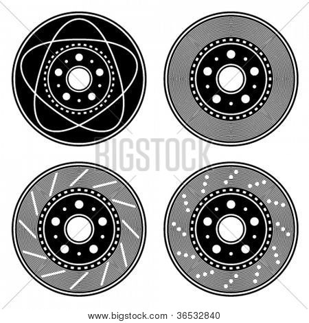 vector brake disc black symbols