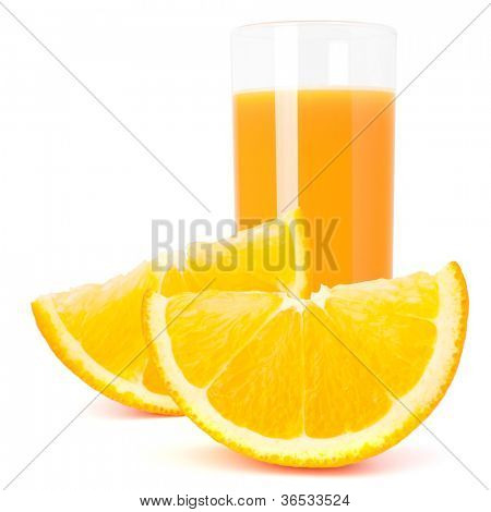 Orange  juice glass  and orange fruit isolated on white background