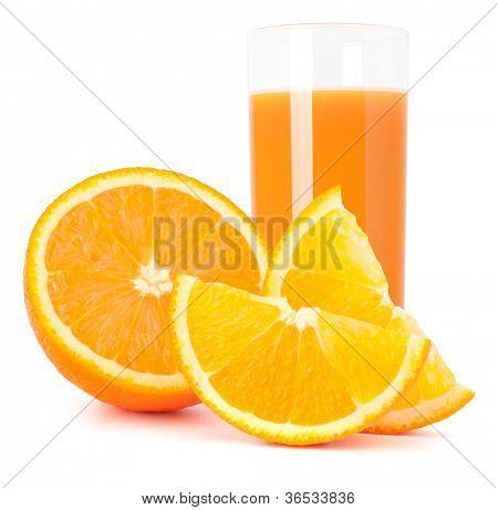 Orange  juice glass  and orange fruit isolated on white background