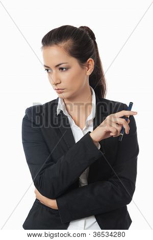 Asian Businesswoman Looking To The Side
