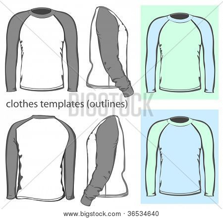 Vector. Men's t-shirt design template (front, back and side view). Long raglan sleeve. outline