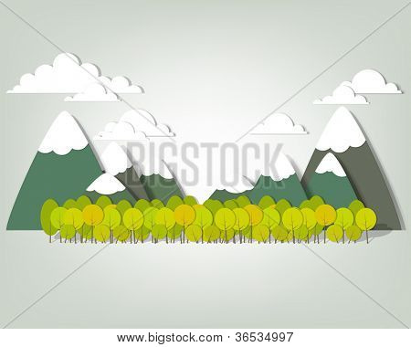 Mountain landscape. Vector applique