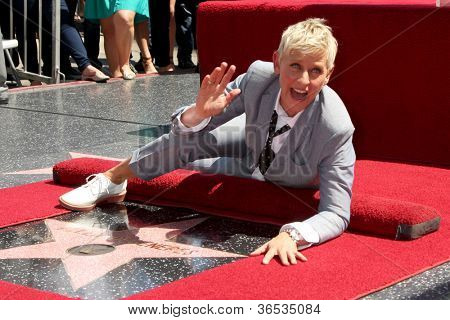 LOS ANGELES - SEP 4:  Ellen DeGeneres at the Hollywood Walk of Fame Ceremony for Ellen Degeneres at W Hollywood on September 4, 2012 in Los Angeles, CA