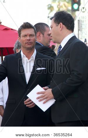 LOS ANGELES - SEP 4:  Ryan Seacrest, Jimmy Kimmel at the Hollywood Walk of Fame Ceremony for Ellen Degeneres at W Hollywood on September 4, 2012 in Los Angeles, CA