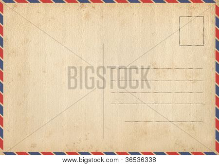 Back of vintage air mail postcard