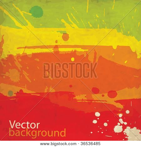 Watercolor abstract worn old vector background with splashes