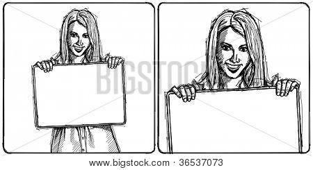Esboço, quadrinhos estilo feliz mulher exploração em branco branco cartão de visita em suas mãos