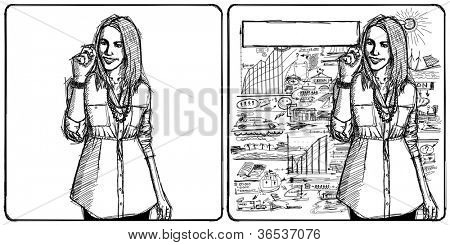 Sketch, comics style business woman writing something on glass board with marker