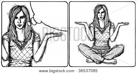 Sketch, comics style woman in lotus pose with open hands