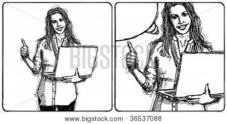 Sketch, comics style businesswoman with red laptop shows well done