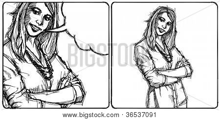 Sketch, comics style young business woman with crossed hands