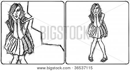 Sketch, comics style surprised blonde woman  in dress