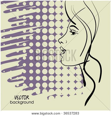 art sketching vector beautiful girl face  symbols with space for text