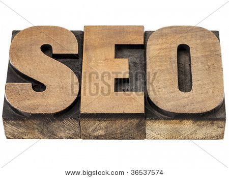 SEO (search engine optimization) acronym - isolated word in vintage letterpress wood type