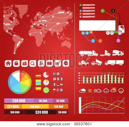 Cargo infographics. Trucks trajectories on world map