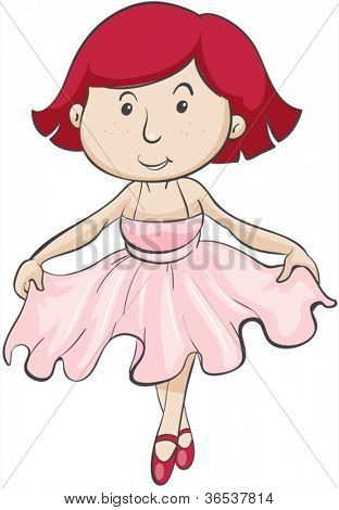 illustration of a girl in pink frock on a white background