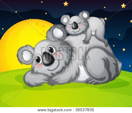 illustration of two bears resting in the night