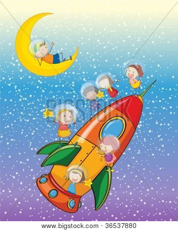 illustration of a kids on a rocket in the sky
